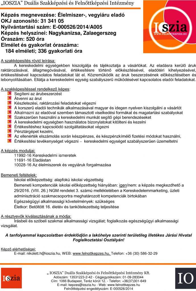 Élelmiszer-, vegyi áru eladó OKJ - Nagykanizsa - Zalaegerszeg - felnottkepzes.hu - Felnőttképzés - IOSZIA