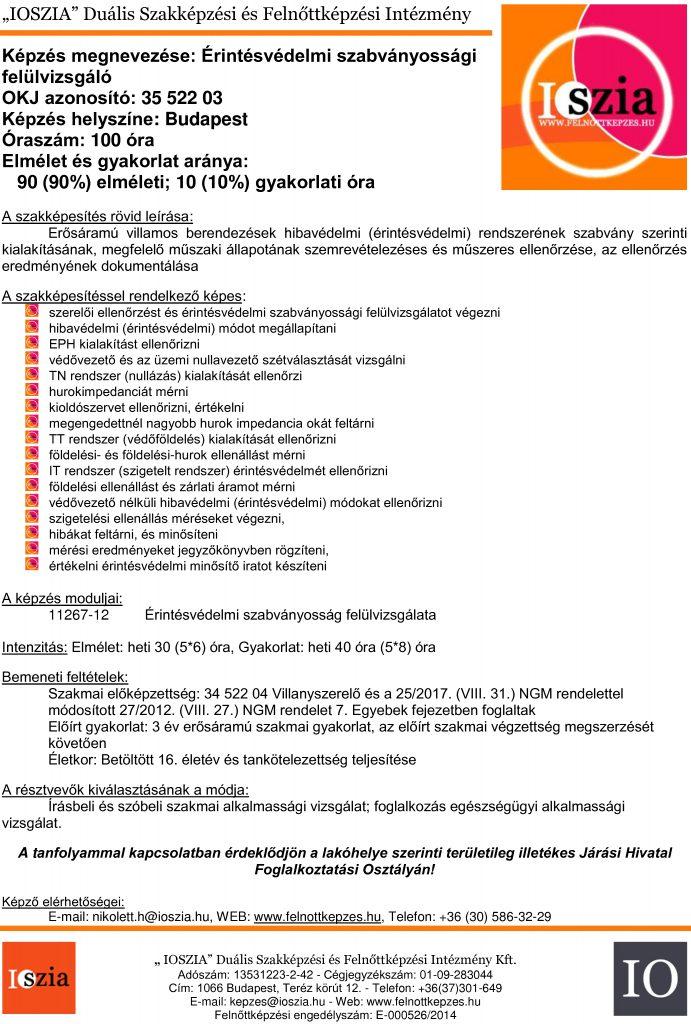Érintésvédelmi szabványossági felülvizsgáló - budapest IOSZIA felnőttképzés