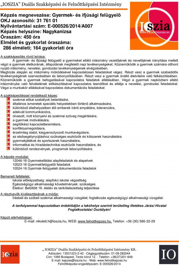 Gyermek- és ifjúsági felügyelő OKJ - Nagykanizsa - felnottkepzes.hu - Felnőttképzés - IOSZIA