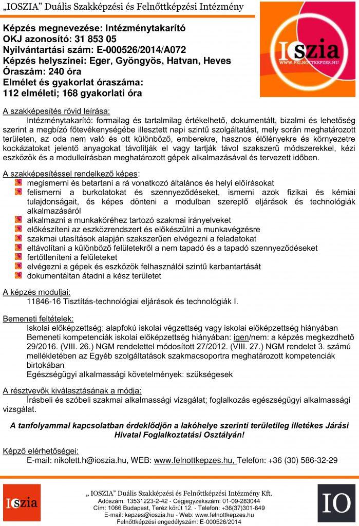 Intézménytakarító OKJ - Eger - Gyöngyös - Hatvan - Heves - felnottkepzes.hu - Felnőttképzés - IOSZIA