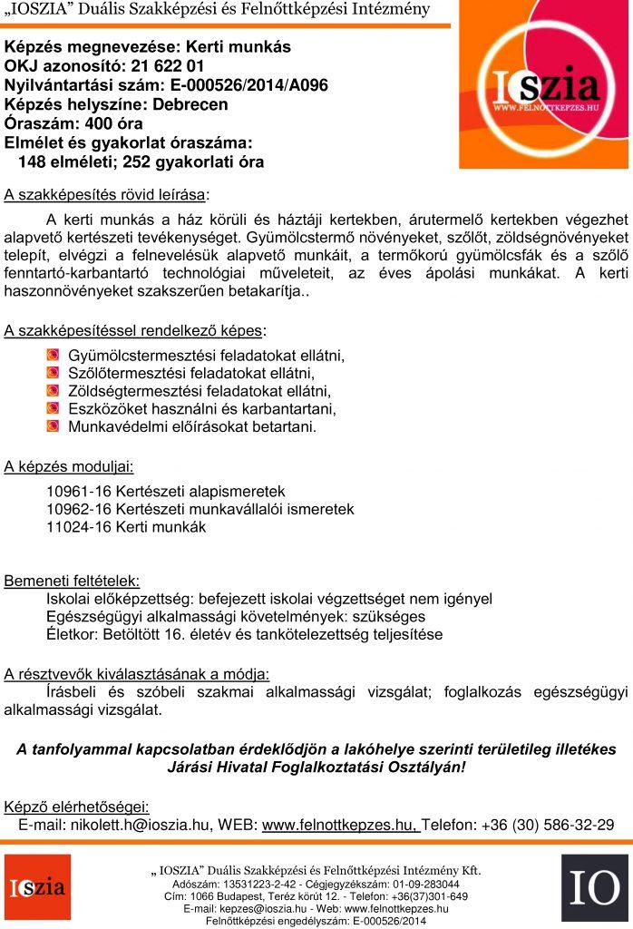 Kerti munkás OKJ - Debrecen - Felnőttképzés - felnottkepzes.hu - IOSZIA