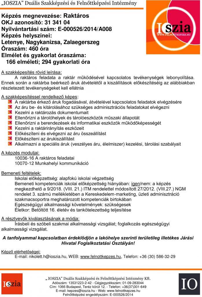 Raktáros OKJ - Nagykanizsa - Letenye - Zalaegerszeg - felnottkepzes.hu - Felnőttképzés - IOSZIA