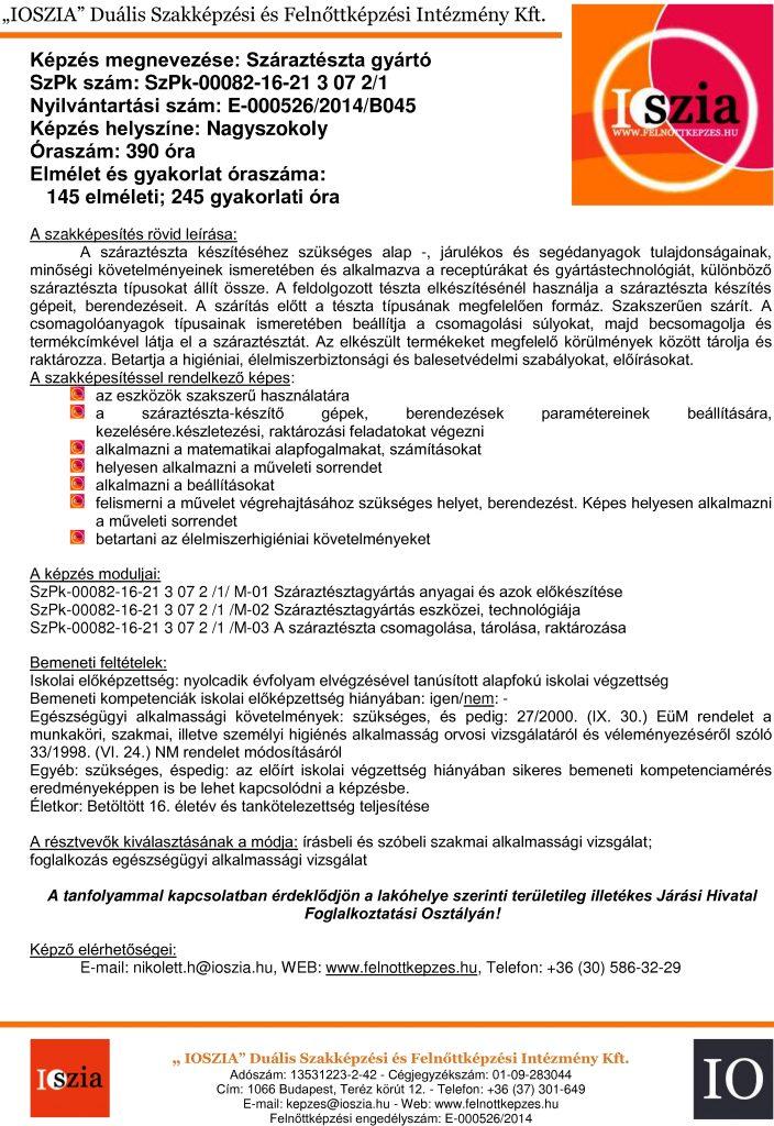 Száraztészta gyártó - Nagyszokoly - felnottkepzes.hu - Felnőttképzés - IOSZIA