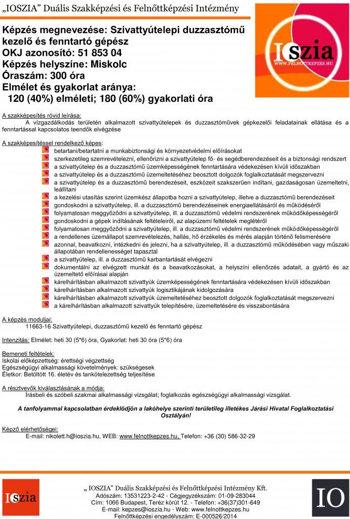 Szivattyútelepi duzzasztómű kezelő és fenntartó gépész - Miskolc - IOSZIA felnottkepzes.hu